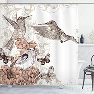 Ambesonne Hummingbird Shower Curtain, Vintage Style Artwork with Birds Butterflies on Blossoms Ornamental Background, Cloth Fabric Bathroom Decor Set with Hooks, 70