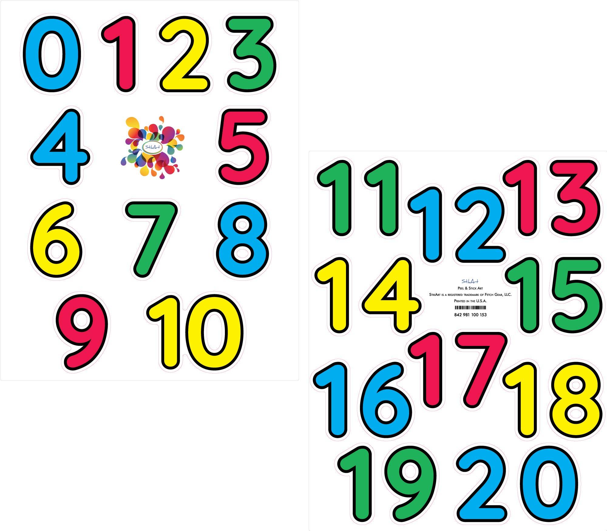 StikArt Number Decals for Preschool, Pre-K and Kindergarten Classrooms, 0-20, 3-inches H (21 Numbers)