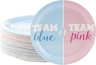 Disposable Plates - 80-Count Paper Plates, Gender Reveal Party Supplies for Appetizer, Lunch, Dinner, and Dessert, Team Blue or Team Pink, 9 x 9 inches