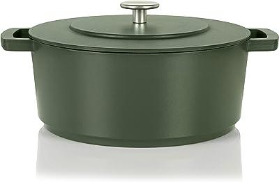Cuisipro Combekk RAILWAY Recycled Enameled Cast Iron Quart Dutch Oven, 6.3, Green