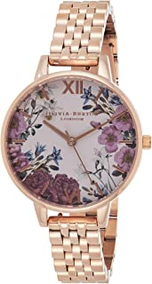 Olivia Burton Women's Blush & Floral Dial Ionic Rose Gold Plated Steel Watch - OB16EX129