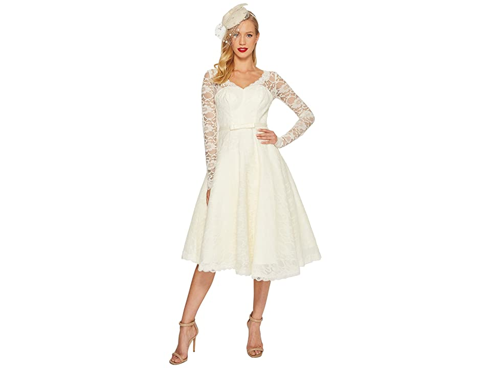 Unique Vintage Long Sleeve Martinique Swing Dress (Ivory) Women