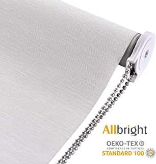 ALLBRIGHT Thermal Insulated Fabric 100% Blackout UV Protection Striped Jacquard Roller Shades for Windows,Easy to Install (Beige, 35'')