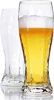 LUXU Beer Glasses, Hexagon Shape Pilsner Glasses set of 2,16oz Crystal Craft Wheat Beer Glasses,Lead-free Weizen vase for ...