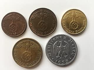 Pre-War Nazi Reichspfennig 1,2,5,10 and 50 Lot Of 5 Reichspfennig, German Third Reich Reichspfennig Made Before the War Before Metal Shortages.