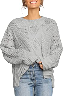 Women's Casual Crewneck Cable Knit Long Sleeve Slit Pullover Sweater Top