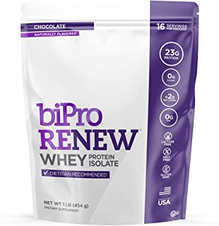 BiPro RENEW 100% Whey Isolate Protein Powder, Dietician Recommended Dietary Supplement, Gluten Free, Chocolate, 1 Pound