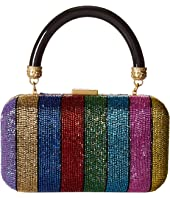 Alice + Olivia - Shirley Embroidered Rainbow Stripe Large Clutch