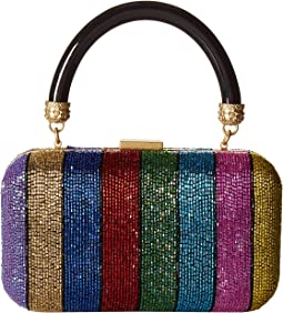 Shirley Embroidered Rainbow Stripe Large Clutch