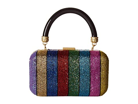 Alice + Olivia Shirley Embroidered Rainbow Stripe Large Clutch