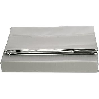 AmazonBasics - Sábana encimera (algodón satén 400 hilos, antiarrugas), 240 x 320 + 10 cm - Gris: Amazon.es: Hogar