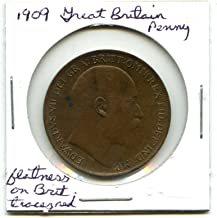 1909 Great Britain Penny - flatness on Britannia, traces of red #7779