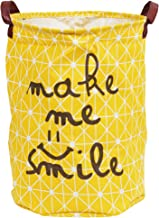 Story@home European Style Multipurpose Round Shape Foldable Open Laundry Bag Basket with Carry Handle (Yellow)