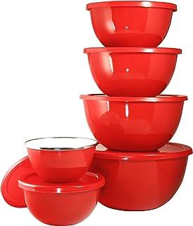 Calypso Basics by Reston Lloyd 12-Piece Enamel on Steel Bowl Set with Airtight Lids, Red