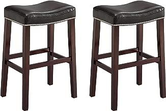 Crown Mark 2991 Nadia Saddle Chair, Black, 2 Per Box