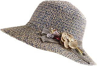 Women's Braided Cloche Hat with Floral Band & Bow - Adjustable