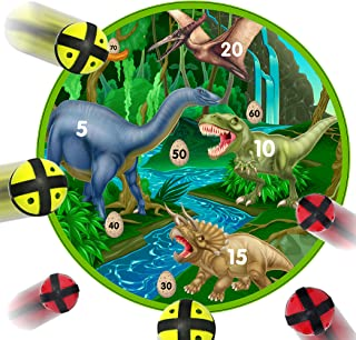 Fun Dinosaur Dart Board Game with 6 Balls Using Hook-and-Loop Fasteners   Learn Numbers, Math and Dinosaurs   Interactive Game and Safe for Kids
