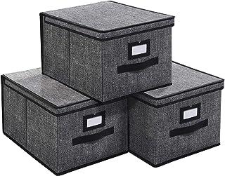 homyfort Boîtes de Rangement avec Couvercle et Poignée, Lot de 3, Boîtes de Rangement Pliable en Tissu, Coffre de Rangemen...