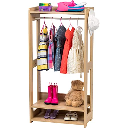 Iris Ohyama Kids Garment Rack KWR-1 Portant/Penderie à vêtements/Porte-Manteaux pour Enfants Multifonctionnel avec étagères de Rangement et Crochets, Engineered Wood, Chêne Clair, L60 x P32 x H120 cm