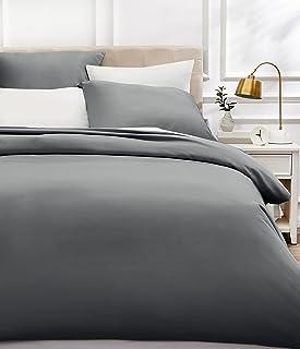 AmazonBasics - Bettwäsche-Set, Fadendichte 400, Baumwollsatin, 240 x 220 cm und zwei Kissenbezügen, 65 x 65 cm, Dunkelgrau
