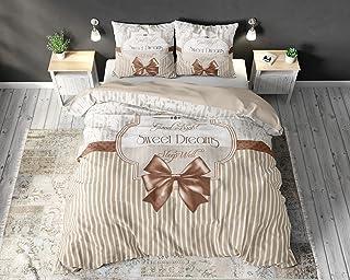 SLEEP TIME Housse De Couette Coton Romance, 220cm x 240cm, avec 2 taie d'oreiller 60cm x 70cm, Marron