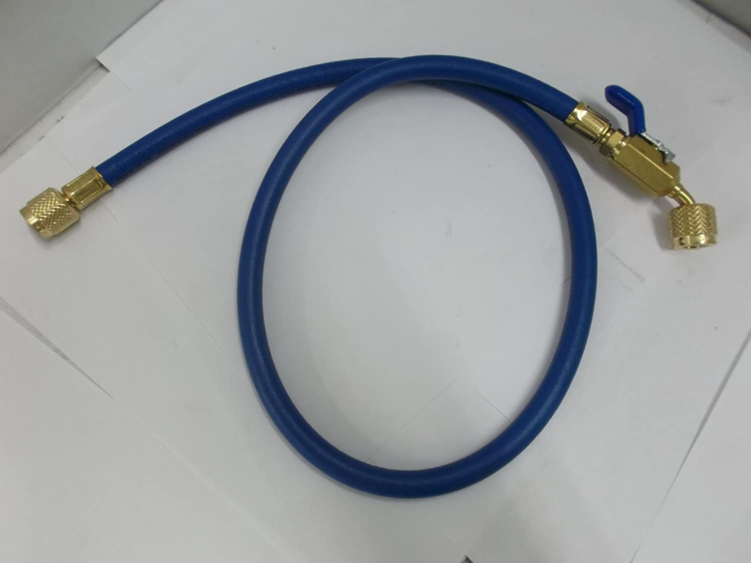 """Yellow Jacket 29248 Plus II 1/4"""" Hose with Compact Ball Valve, 48"""", Blue: Hydraulic Adapters: Industrial & Scientific"""