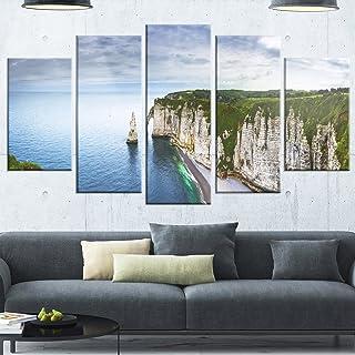 Design Art Etretat Aval Cliff and Rocks-Oversized Beach Glossy Metal Wall Art, 60x32-5 Panels Diamond Shape, Blue