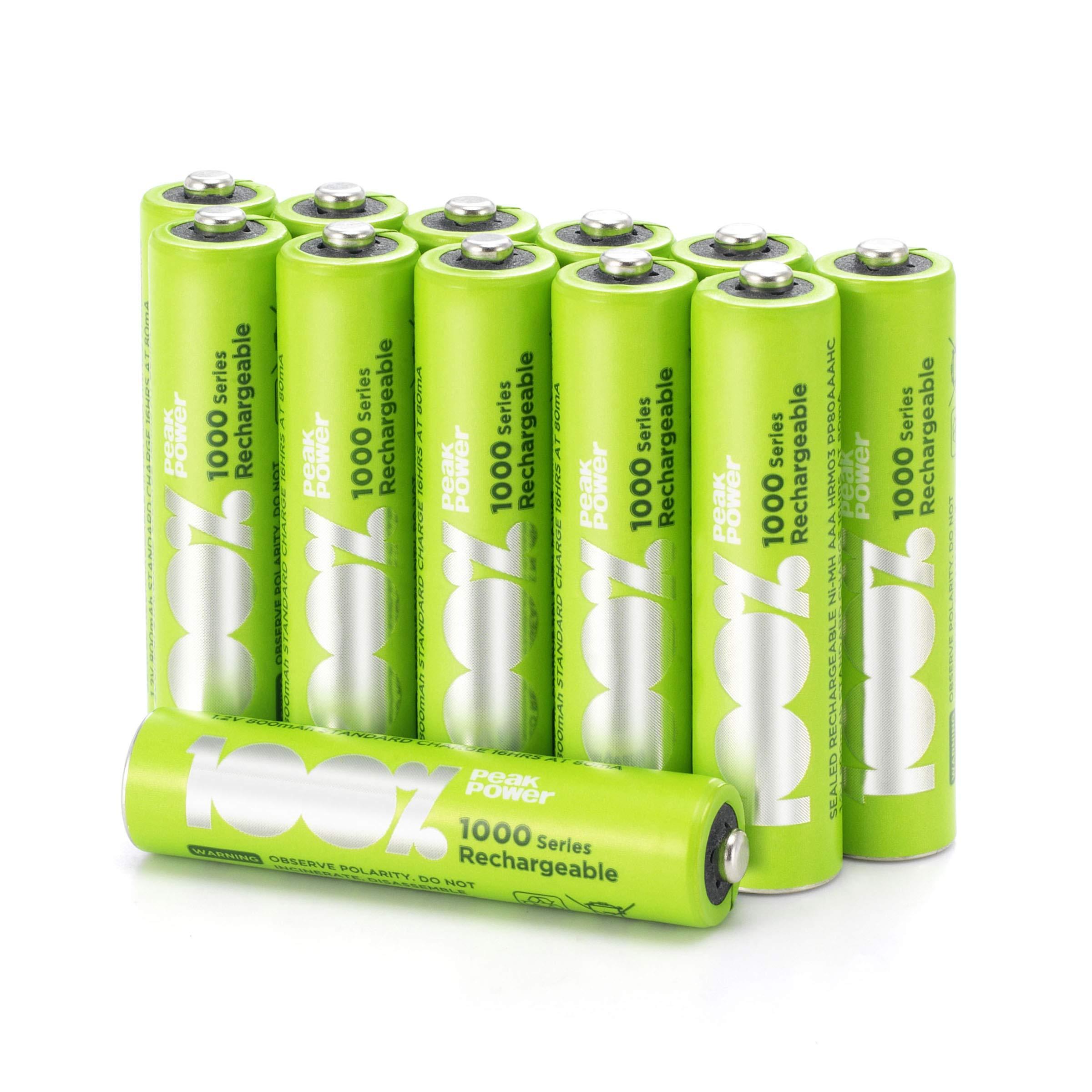 100% PeakPower 12 x Pilas Recargables AAA 1000 Series   Capacidad mínima Garantizada 800 mAh NiMH   Pilas AA Recargables Que Vienen precargadas Listas para Usar   Bajo Nivel de autodescarga: Amazon.es: Electrónica