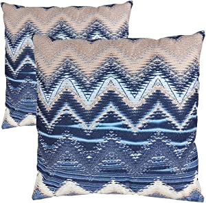 MuaToo Boho Pillow Cover Navy Blue Strip 18x18 Set of 2,Decorative Pillowcases,Super Soft Double-Sided Square Cushion Covers Throw Pillow Cover for Farmhouse Couch Sofa Living Room Bed Chair Car