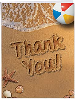XL 'Beach Notes' Thank You Card with Envelope 8.5 x 11 Inch Big Beach-Themed Appreciation Greeting Card, Large Stationery for Holidays, Weddings, Baby Showers, Thanksgiving J6113GTYG