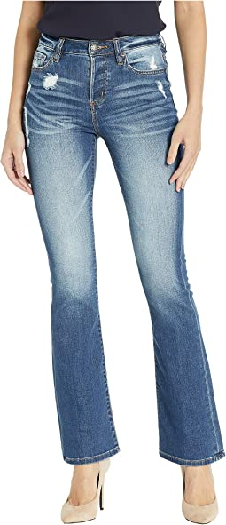Five-Pocket High-Rise Bootcut Jeans in Denim Blue