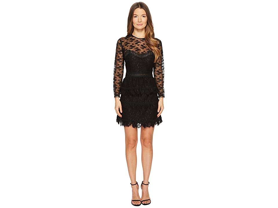 The Kooples Lace Dress with Floral Details (Black) Women