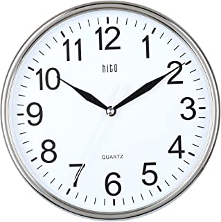 hito Silent Wall Clock Non Ticking 10 inch Excellent Accurate Sweep Movement Glass Cover, Modern Decorative for Kitchen, Living Room, Bathroom, Bedroom, Office, Classroom (Chrome)