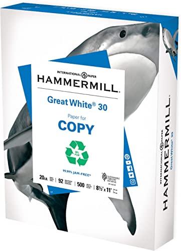 Hammermill Printer Paper, Great White 30% Recycled Paper, 8.5 x 11 - 1 Ream (500 Sheets) - 92 Bright, Made in the USA