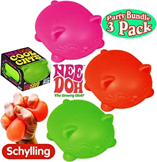 Schylling NeeDoh Cool Cats The Groovy Glob! Squishy, Squeezy, Stretchy Stress Balls Green, Orange & Pink Complete Gift Set...