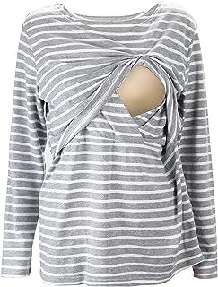 Logobeing Ropa Premam/á Camisetas Abrigo de Lactancia de Maternidad para Mujeres Doble Capa Blusa Camiseta