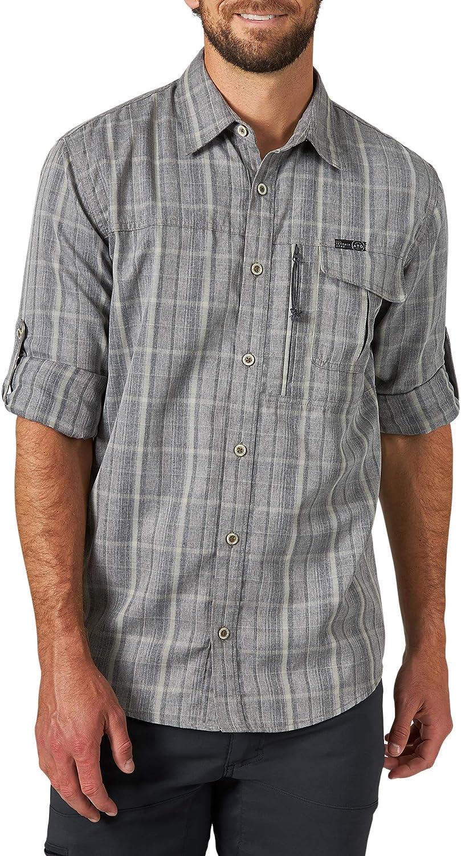 ATG by Wrangler Men's Long Sleeve Heathered Plaid Utility Shirt