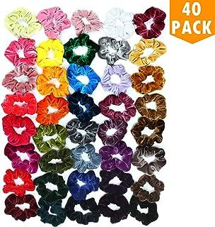 Datttcc 40 Pcs Hair Scrunchies Velvet Elastic Hair Bands Scrunchy Hair Ties Ropes Scrunchie for Women or Girls Hair Accessories - 40 Assorted Colors Scrunchies (40 PCS Velvet Hair Scrunchies)