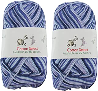 Cotton Select Sport Weight Yarn - 100% Fine Cotton - 2 Skeins - Col 016 - Blueberry Pie