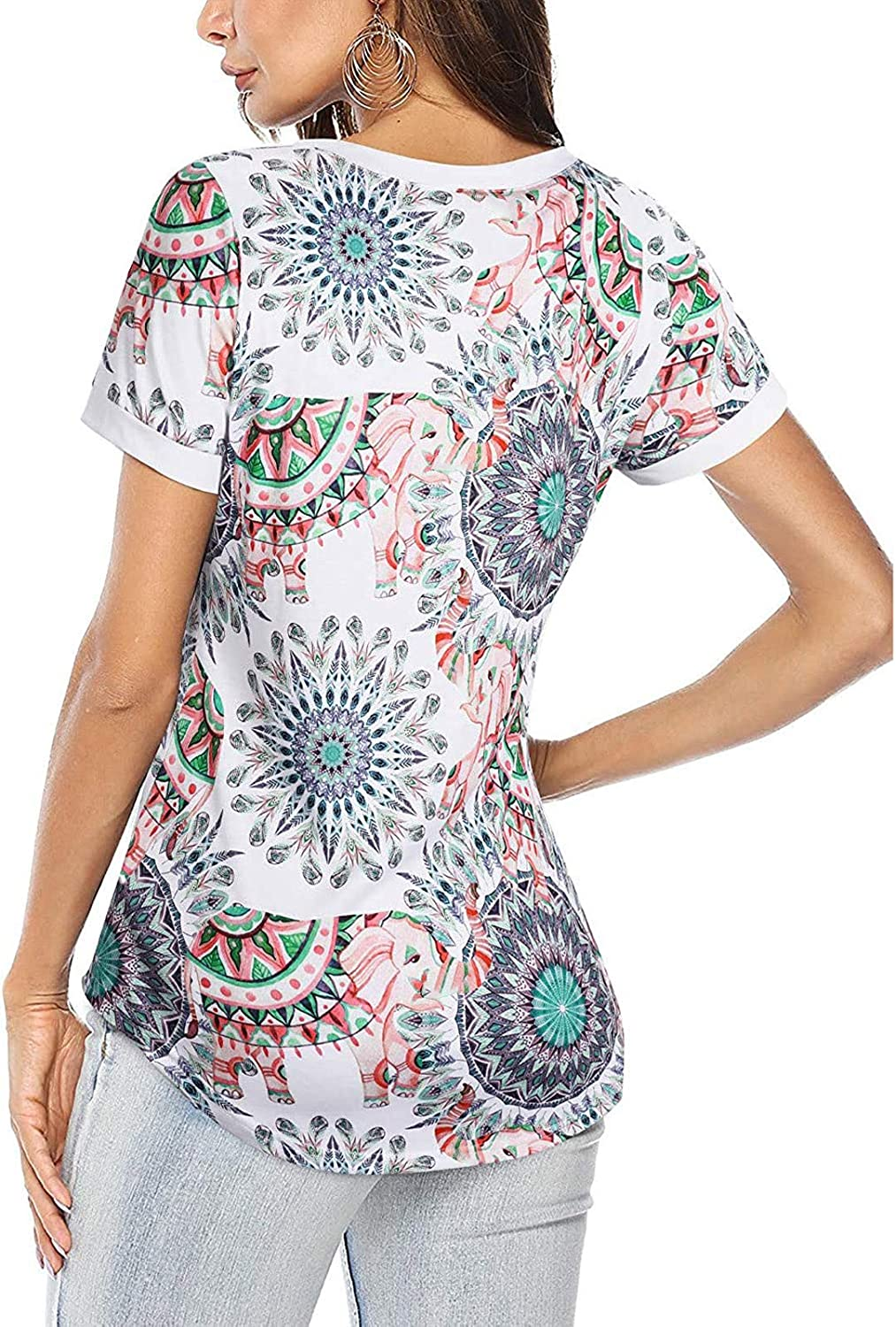 Womens T Shirt Summer Casual Tops V Neck Short Sleeve Tunic Vintage Prints Tee Blouse with Pants/Jeans/Skirts/Shorts etc