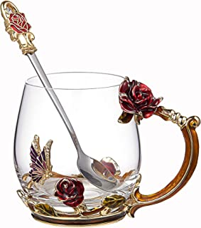 SEMAXE 11OZ Glass Tea Cup Coffee Mug,Hand Blown Glass Drinking Mug Made of Lead-free Glass and Enamels