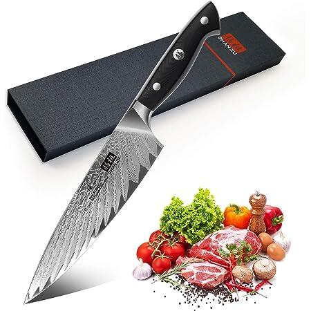 SHAN ZU Couteau de Cuisine Damas 20cm, Couteau de Chef Profesional en Acier Japonais AUS-10 à 67 Couches, Couteau Japonais avec Poignée Ergonomique G10 pour Coupe Viande, Légumes, Fruits