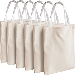 """Canvas Tote Bags - Bulk 12 Pack 13""""x11"""" Fabric Blank Tote Bags, Natural Cotton for DIY Crafts, Gift Bag and Wedding, Birth..."""