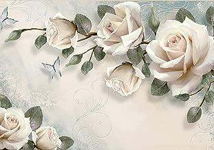 Fototapete Blumen Ornament Vintage Rose türkis Rosen Gold Diamanten Schmetterli