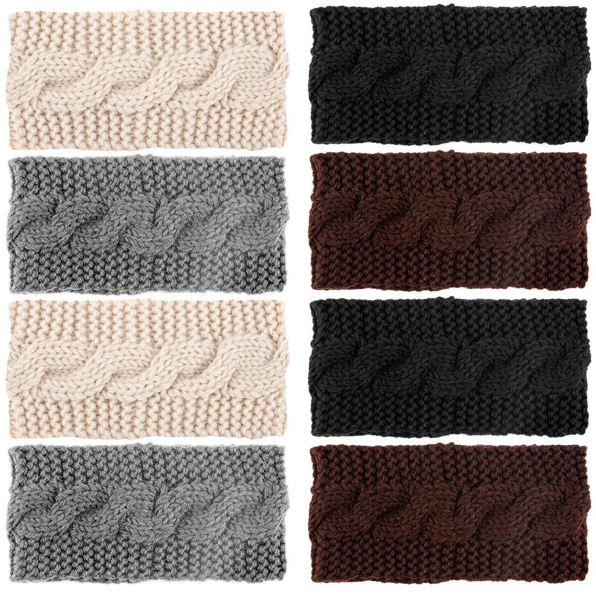 Apipi 8pcs Winter Knitted Headbands- Stretchy Crochet Twist Headband, Soft Braided Ear Warmers Head Wraps for Women Ladies Girls (4 Color)