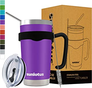Sunlotus 20 oz Stainless Steel Tumbler Double Wall Vacuum Insulated Travel Coffee Mug,Cup with Splash Proof Lid,Straw,Handle,Straws Brush