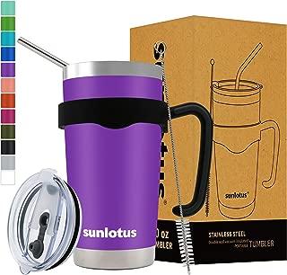 Sunlotus 20 oz Stainless Steel Tumbler Double Wall Vacuum Insulated Travel Coffee Mug,Cup with Splash Proof Lid,Straw,Handle,Straws Brush&Gift Box (20, Purple)