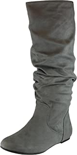 Cambridge Select Women's Round Toe Slouchy Knee-High Flat Boot