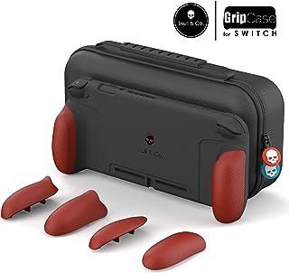 Skull & Co. GripCase Set: 人間工学交換可能なグリップあらゆるサイズの手にフィットする保護ケース(Nintendo Switch用のキャリングケースは含まれ) - スーパーマリオ オデッセイ+レッド