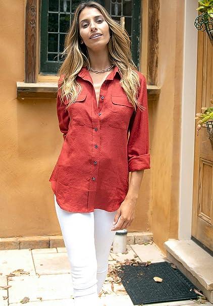 CAMIXA Camisa de lino para mujer, 100% informal, con botones, manga larga, para mujer